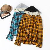 Модная рубашка фланель,с капюшоном, фирма no bo размер XS,цвет желтый!Рекомендуем!)
