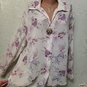 На пышные формы! Красивая нарядная нежная рубашка блуза р.20 Новая Акция читайте