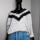 """Качество! Стильный свитерок с кружевом """"ресничка"""" от Shein, р. L+- в новом состоянии"""