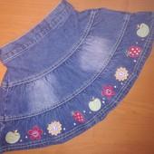Джинсовая юбка на 12-18 месяцев, на рост 86,пояс на резинке