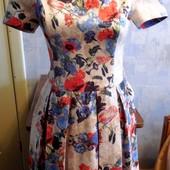 Красивое платье плиссе р.М, длина 87 см, как новое,Турция