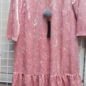 Велюровые платья с кружевом. Р. S, M, L
