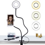 Штатив держатель для телефона на прищепке с подсветкой 2 режима освещения