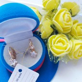 Новинка!!!Очаровательные очень нежные серьги-колечки с подвесками-кристаллами позолота 585 пробы