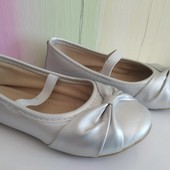 Балетки нарядтные, туфельки серебряные 28 размер