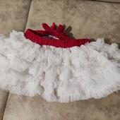 Юбка пышная ту-ту белая с блестками и красным бантиком на 1-2 года Дисней