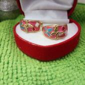 Красивые, яркие серьги,тёплое воспоминание лета качественная цветная эмаль,украшена бабочками