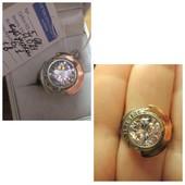 Роскошное крупное серебряное кольцо серебро 925пр.+ зол. 375 пр. Новое с биркой!
