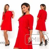 Обалденное красное платье с бантиками, рр 48, замеры в лоте