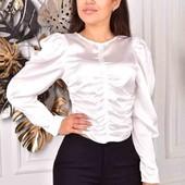 В наличии! Великолепная атласная блузка, 44-46, универс. Цвет белый.