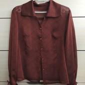 34-36р. Шифоновая дизайнерская блузка, тёмный терракот