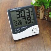 ✅ Цифровой, электронный термометр, часы, гигрометр, будильник, настольный, настенный HTC-1