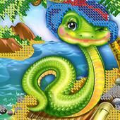 """Схема для вишивки дитяча серія """"Змійка на пляжі"""""""