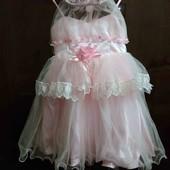 не пропустите!!! распродажа!!! нежно- розовое платье для принцессы на 2-3 года