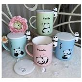 Чашка с пандой + крышка