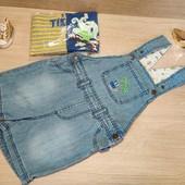 Германия!!! Набор для малыша: джинсовый комбинезон шорты 92 и 2 бодика майки 86/92!