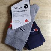Комплект 2 шт мужские носки с праздничным мотивом Livergy Германия размер 39-42