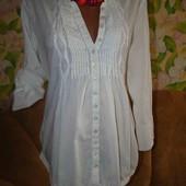 Тоненькая белая рубашка-туника р. М-Л