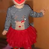 Шикарное пышное платье+колготки,на малышку 12-18 мес.