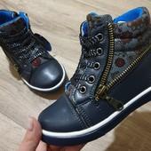 Деми ботинки отличного качества 26р Шнурки+ змейка. Стелька кожа
