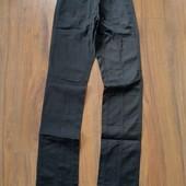 Чёрные атласные брюки, размер 42