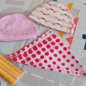 Лот шапочек, косынка и повязка р.3-6 м