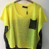 ☘ Лот 1 шт ☘ Туніка-футболка жовто-чорна в'язка від Sarah Chole (Англія), розмір xl