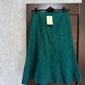Фирменная новая красивая летняя льняная юбка с вышивкой р.10-12