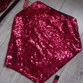 Крутая юбка паетки темно малиновая верх светится но есть подкладка