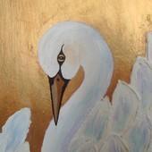 """Авторская картина """" нежный Лебедь"""", р 35на 25см"""