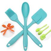 Набор силиконовых кухонных принадлежностей - лопатка, кисточка, ложка