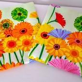 Цветы! Набор красивых полотенец из хлопка!