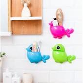 Подставка для зубных щеток в виде птички на присосках, пластик