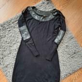 Чорне плаття зі вставками шкірзамінника✔️