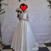 Шикарне, весільне плаття з дорогого атласу!!! Айворі✔️✔️✔️