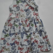 Фирменное H&M летнее платье сарафан в бабочках девочке 4-6 лет хлопок