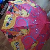 Яркий детский зонтик, отлично защитит от дождя, со свистком, купол 72см.Полуавтомат.супер❣