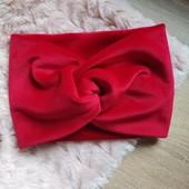 Стильна пов'язочка на голову( доросла або дитяча) червоного кольору,