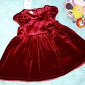 Шикарнейшее Новое бархатное платьице,на малышку 9-12 мес(до 80 см)