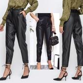 Хит 2021❣Жен.стил.кожанные брюки(еко-кожа),р.40,зауж.,пояс на резинке,ремень,выс.посадка,кач-во❤❣