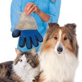 Перчатка для вычесывания шерсти для собак и кошек Deshedding