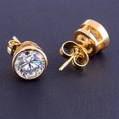 шикарные серьги-гвоздики с кристаллами Swarovski, цвет белый, позолота 585 пробы