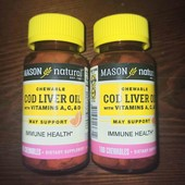 Iherb масло печени трески с витаминамиA, C и D, апельсиновый вкус, 100таблеток