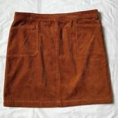 Вельветовая рыжая юбка с карманами TU