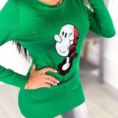 Мультяшная роскошная свитер-туника+пайетки. 44-48. Хорошо тянется.