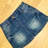Джинсовая юбка трапеция для девочки 9-12 месяцев
