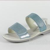 Кожаные!!! Детская летняя обувь босоножки, цвет-голубой, Шалунишка, размер 33