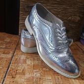 Шикарные серебряные туфли лоферы р.37 Акция читайте