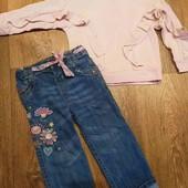 классные, фирменные джинсы как новые на 2-3 года + подарок