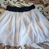 Женская шифоновая юбочка в мелкий горох размер S